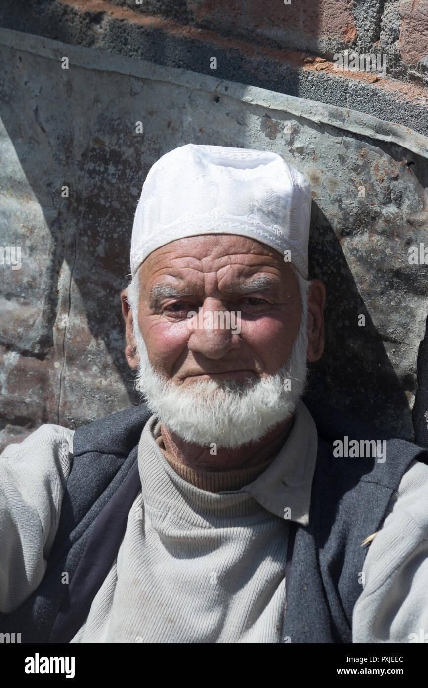 Kashmir, India. Portrait of elderly man - Stock Image