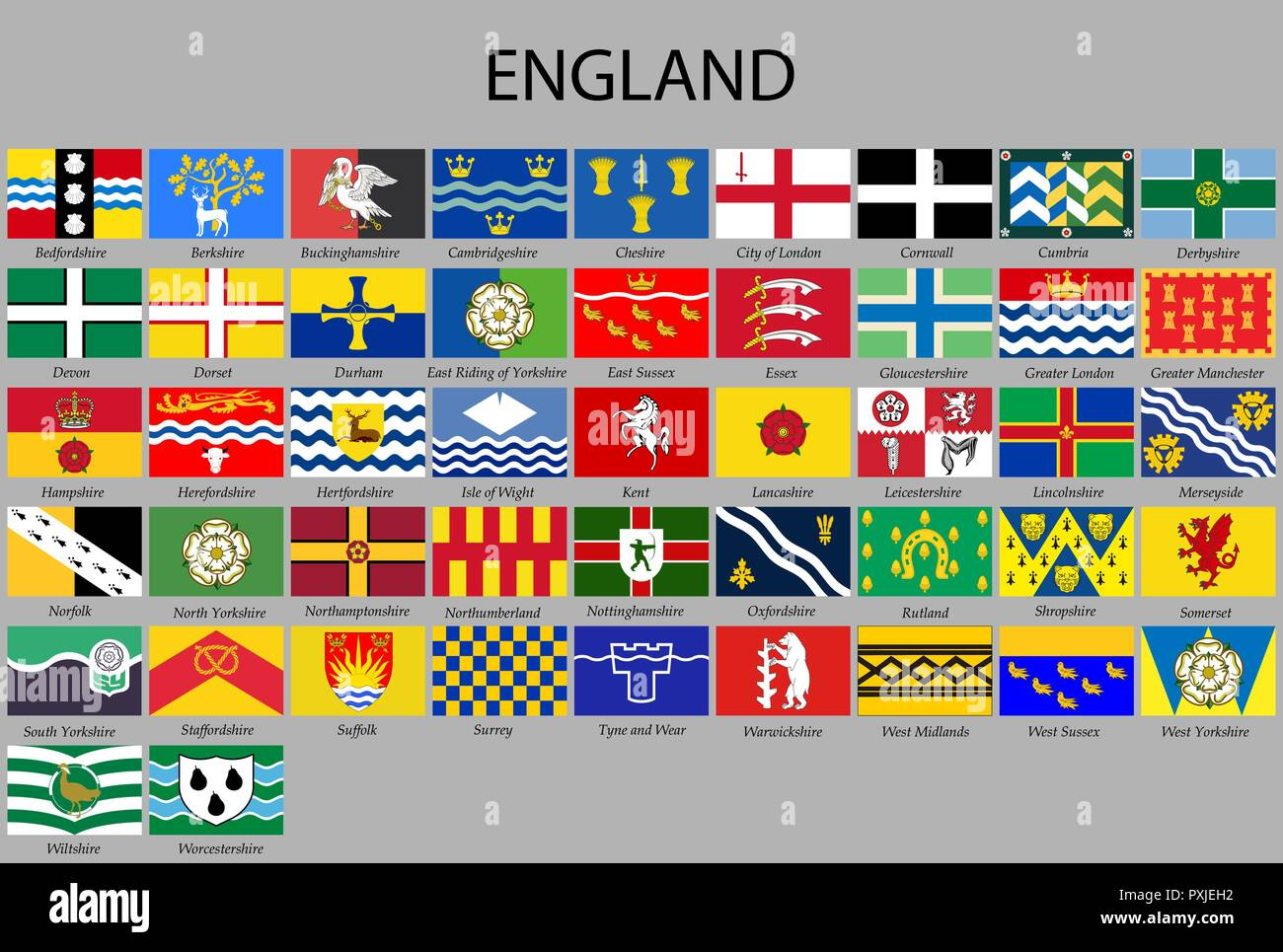all Flags counties of England. Vector illustraion - Stock Vector