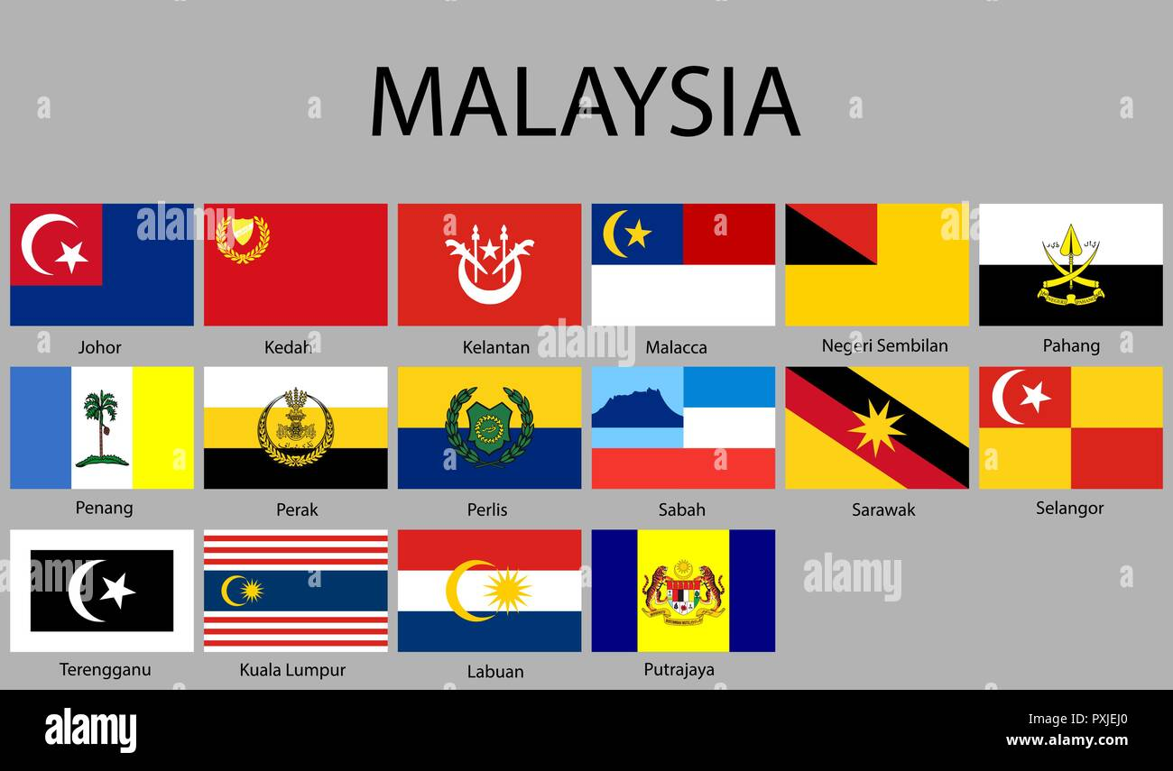 all Flags of regions of Malaysia. Vector illustraion - Stock Vector