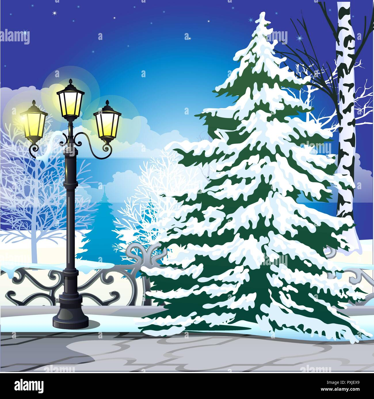 winter sketch on the background of snowy spruce and vintage street lamp in the park sample of christmas and new year greeting card festive poster or party