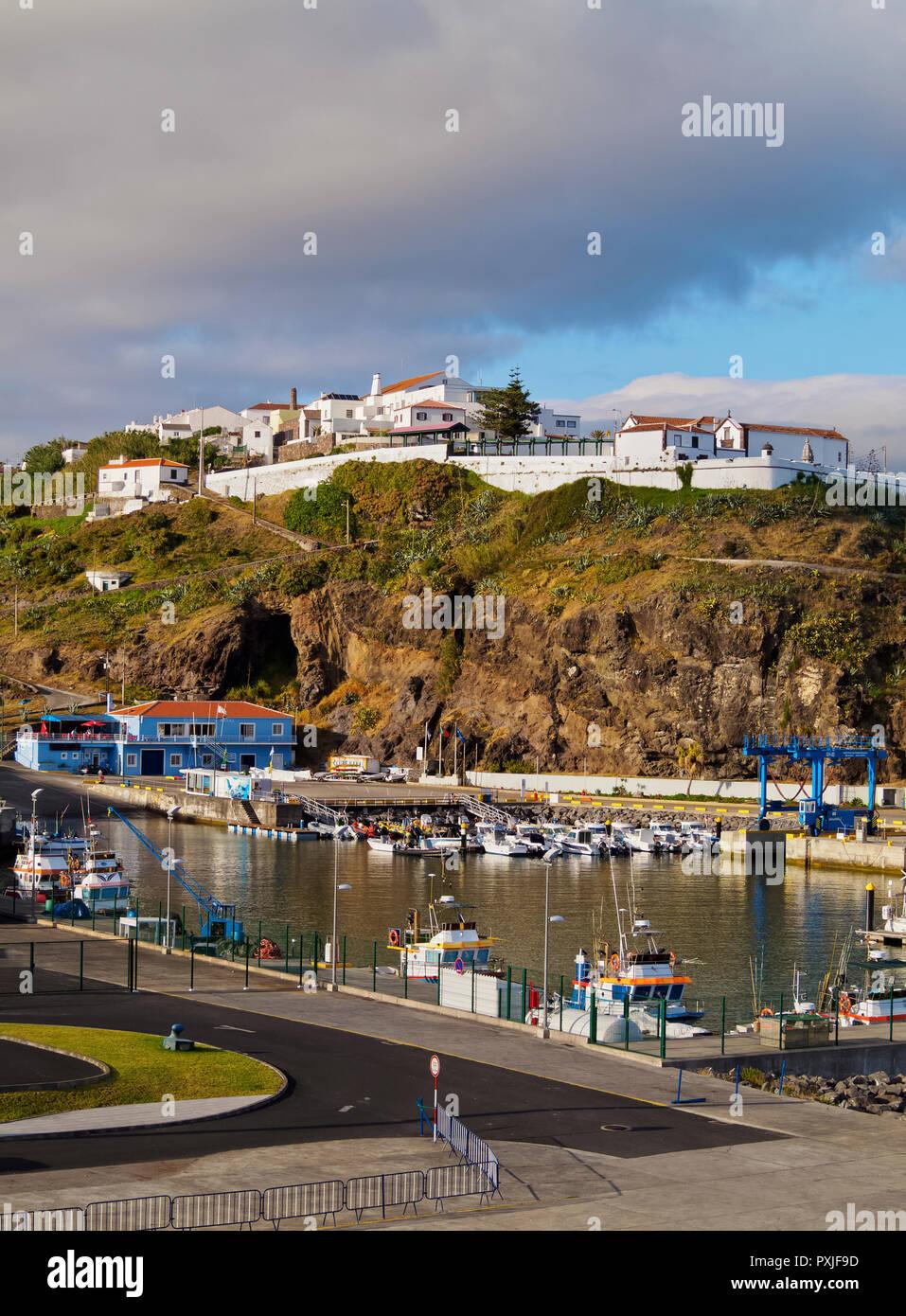 Port and Fort of Sao Bras, Vila do Porto, Santa Maria Island, Azores, Portugal - Stock Image