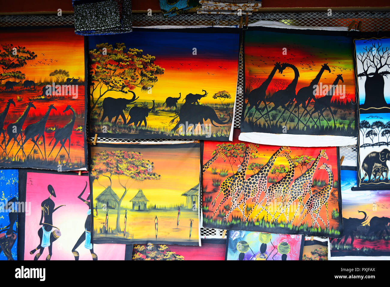 Naive painting in Livingstone, Zambia - Stock Image