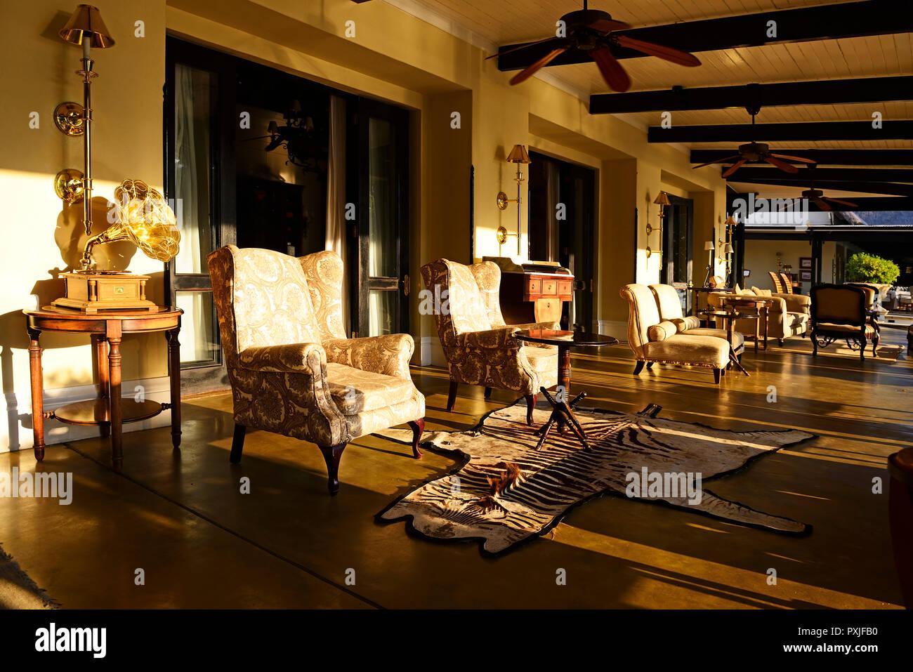 Tea Salon Of The Royal Livingstone Hotel Livingstone Zambia Stock