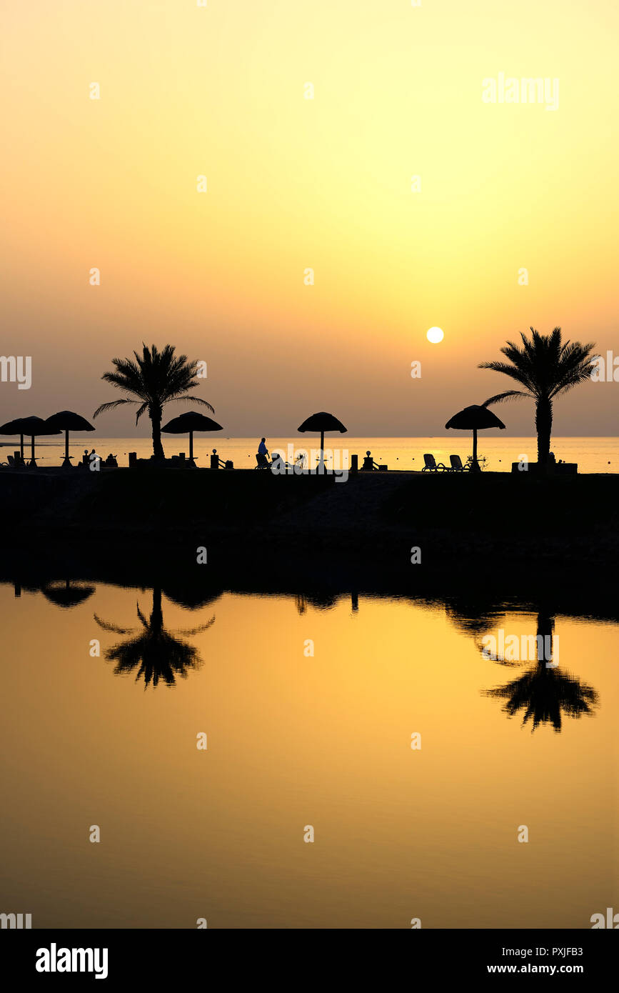 Sunset With Water Reflection From Palm Trees And Sunshades