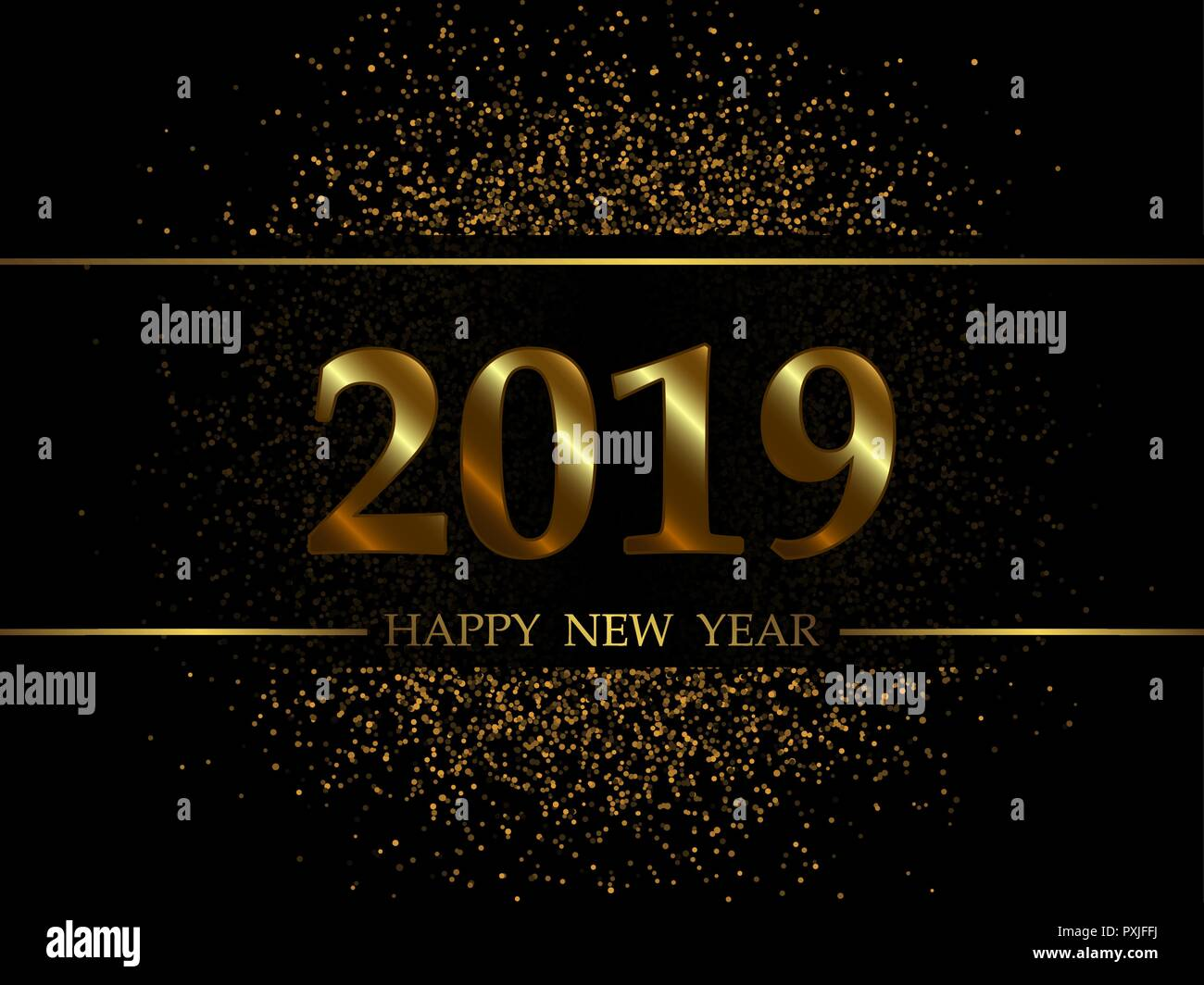 2019 new year black background with gold glitter confetti festive