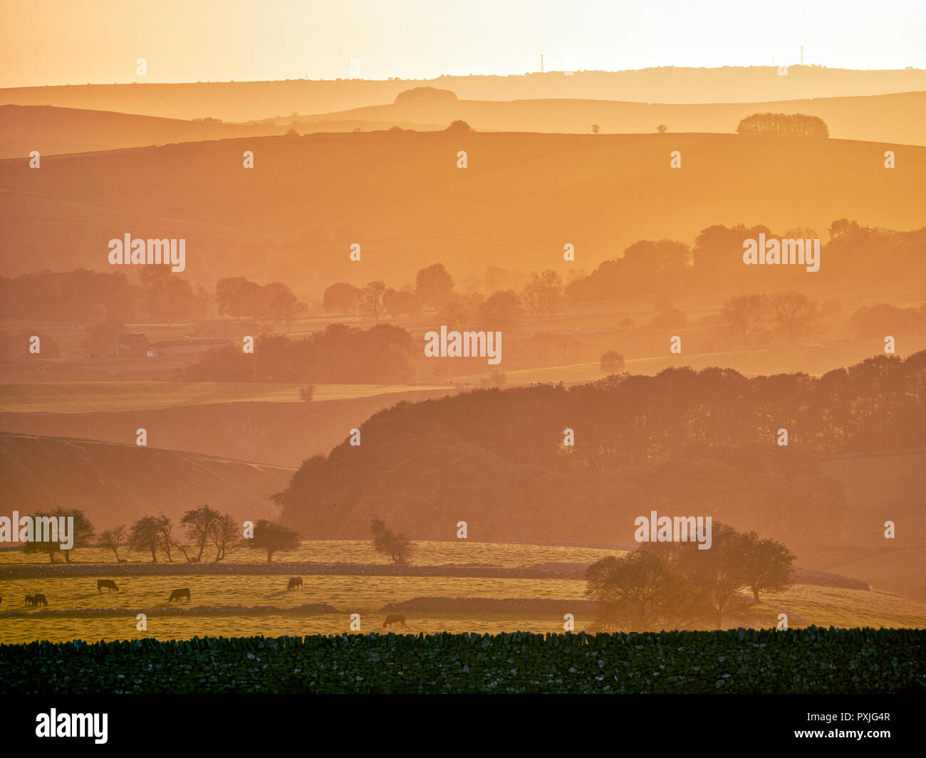 UK Weather: spectacular sunset along the A515 road between Buxton & Ashbourne in the Peak District National Park, Derbyshire Credit: Doug Blane/Alamy Live NewsStock Photo