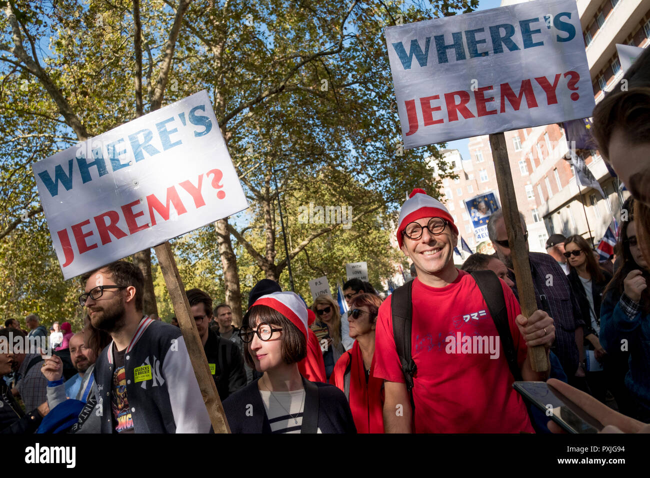 London, UK, 20thOctober 2018.  More than 500,000 people marched on Parliament to demand their democratic voice to be heard in a landmark demonstration billed as the most important protest of a generation. As the date of the UK's Brexit from the European Union, the protesters gathered in their tens of thousands to make political leaders take notice and to give the British public a vote on the final Brexit deal. (photo by Mike Abrahams/Alamy Live News - Stock Image
