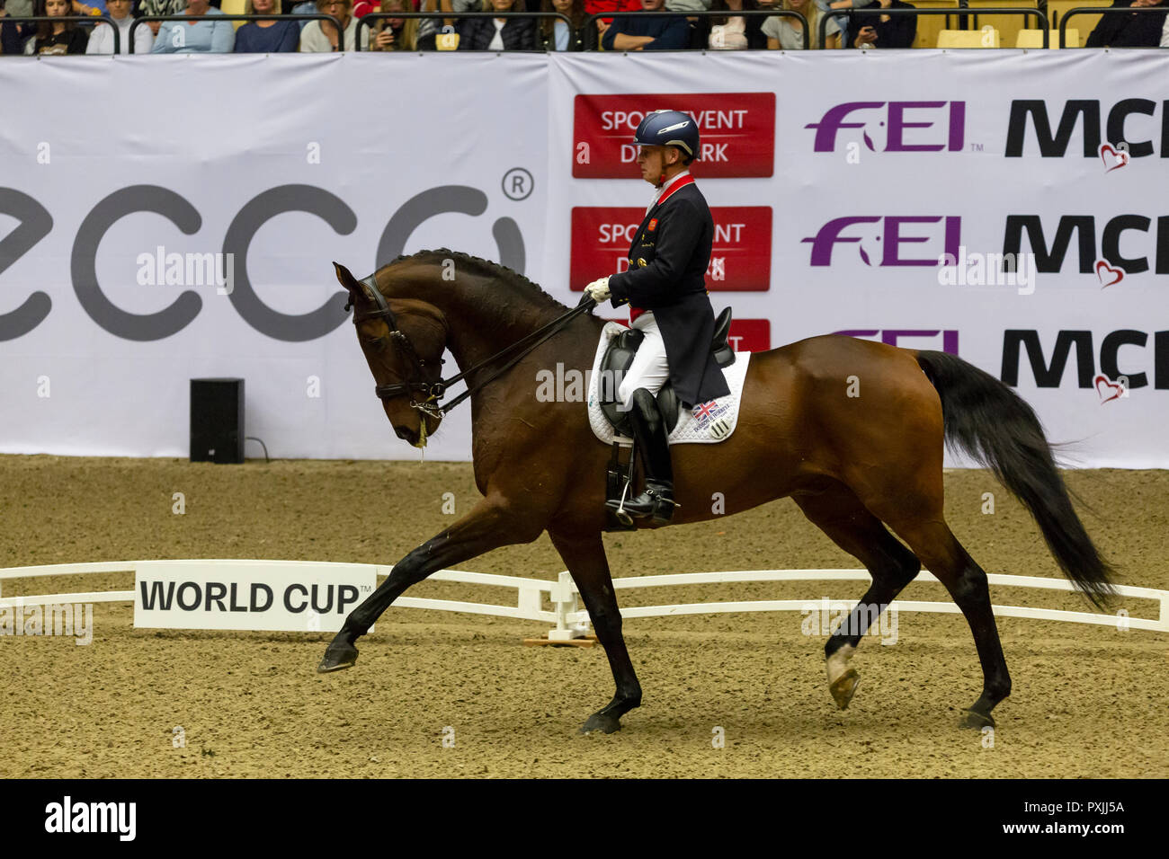 Herning, Denmark. 21st October, 2018. Richard Davison of Great Britain riding Bubblingh during the FEI World Cup 2018 in freestyle dressage in Denmark. Credit: OJPHOTOS/Alamy Live News Stock Photo