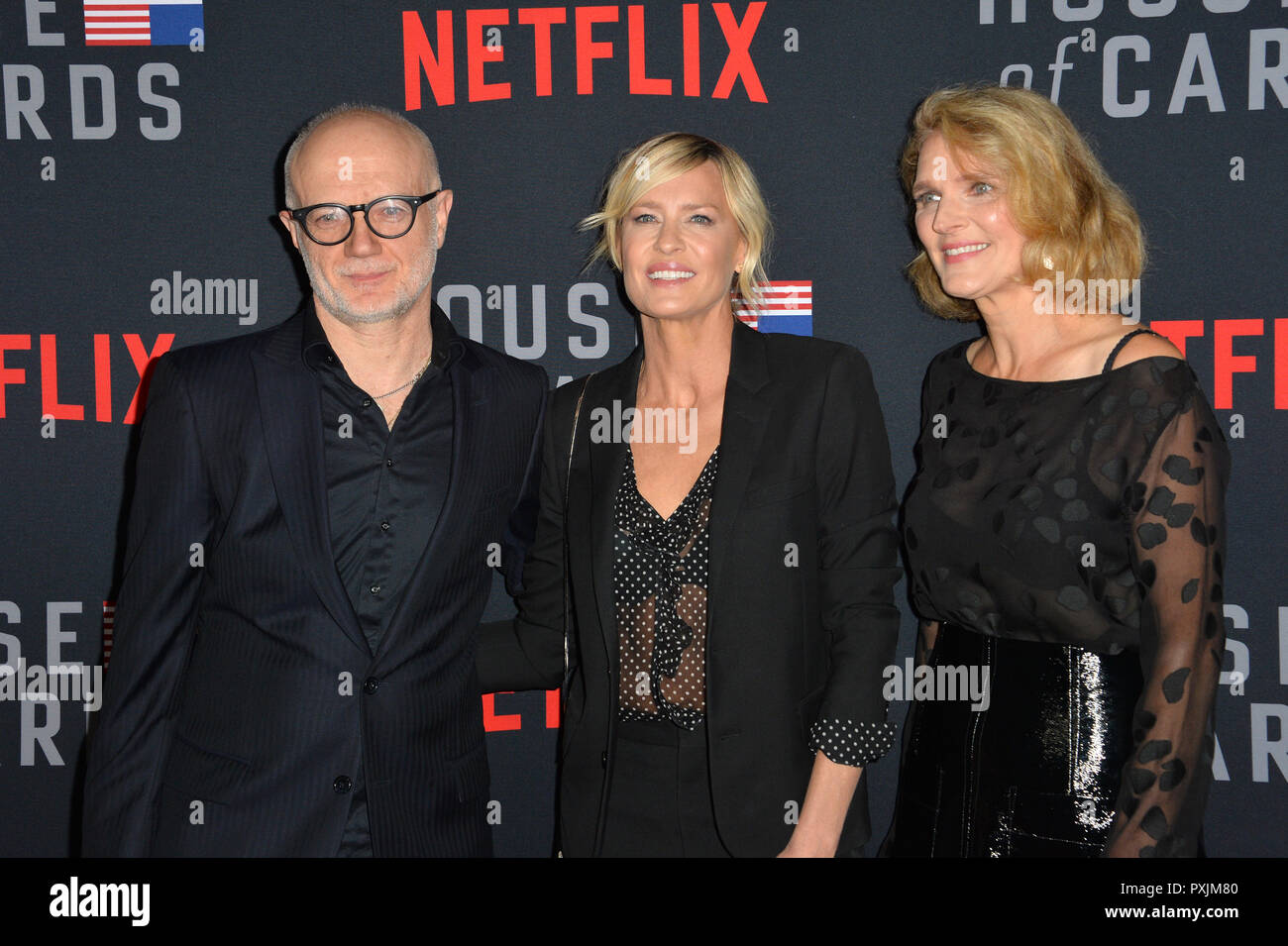 Los Angeles, California, USA. 22nd October, 2018. Frank Pugliese, Robin Wright & Melissa James Gibson at the season 6 premiere for 'House of Cards' at the Directors Guild Theatre. Picture: Paul Smith/Featureflash Credit: Paul Smith/Alamy Live News - Stock Image