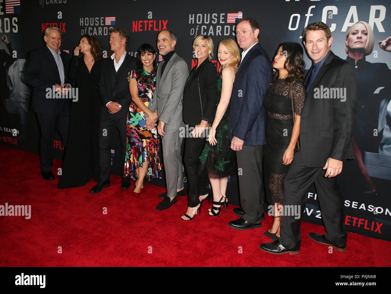 Los Angeles, Ca, USA. 22nd Oct, 2018. Campbell Scott, Diane Lane, Greg Kinnear, Constance Zimmer, Michael Kelly, Robin Wright, Patricia Clarkson, Boris McGiver, Nini Le Huynh, Derek Cecil, Frank Pugliese, Melissa James Gibson, Cindy Holland, at the Season 6 premiere screening of Netflix' House Of Cards at The DGA Theater in Los Angeles, California on October 22, 2018. Credit: Faye Sadou/Media Punch/Alamy Live News - Stock Image
