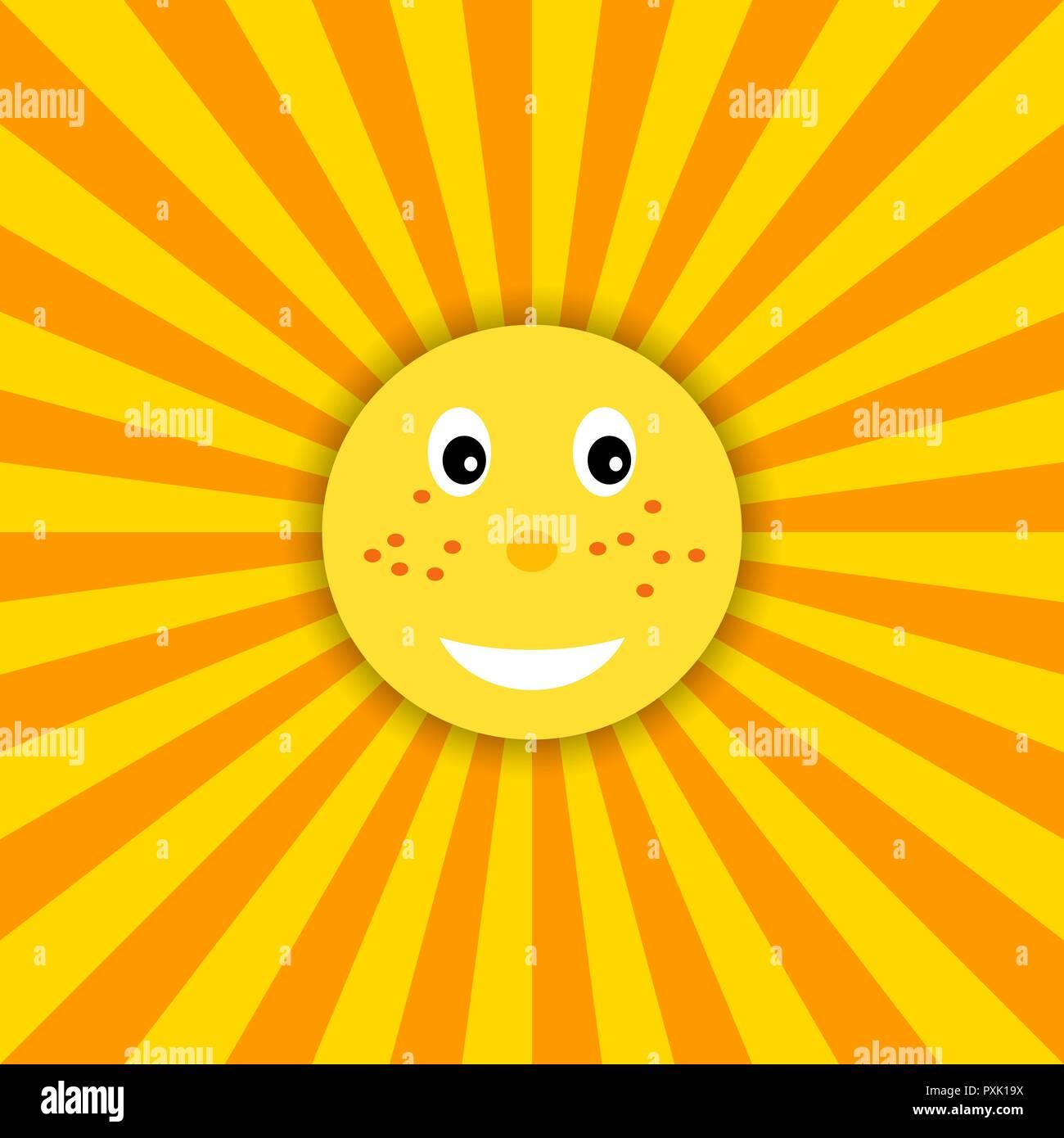 Funny sun icon illustration for kids. Vector - Stock Vector