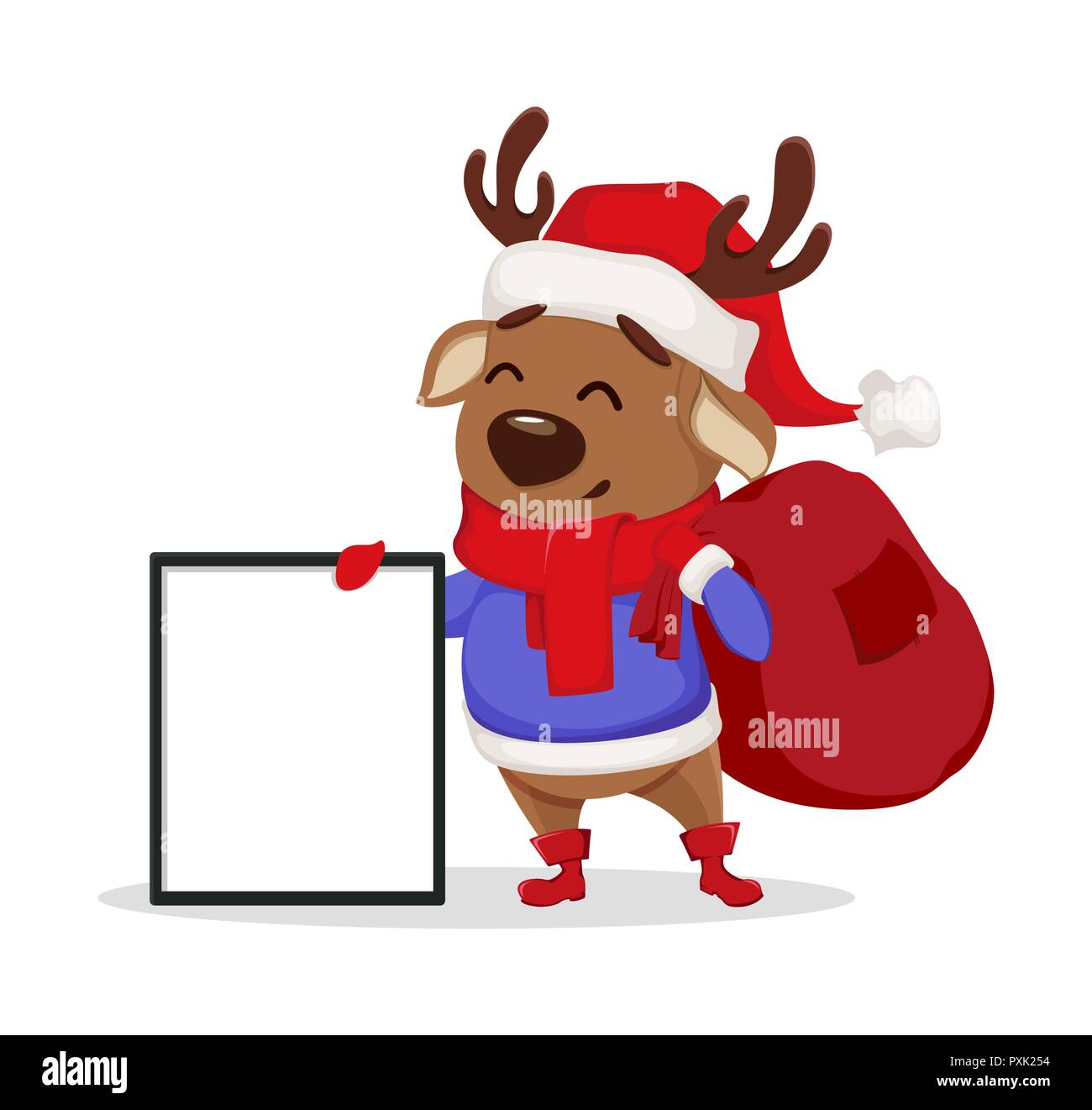 cfae08c54b43a Merry Christmas. Cute deer wearing Santa Claus hat and scarf. Cheerful funny  cartoon character holding big blank frame. Vector illustration on white b