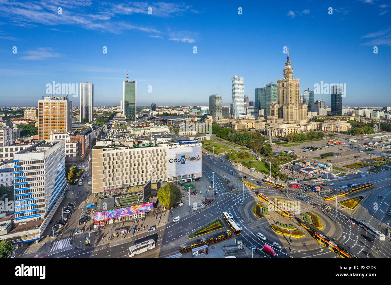 Warsaw Centrum, aerial view of the very heart of the polish capital, with Rondo Dmowskiego roundabout, the Neomodern Warsaw Spire and the Russian Wedi - Stock Image