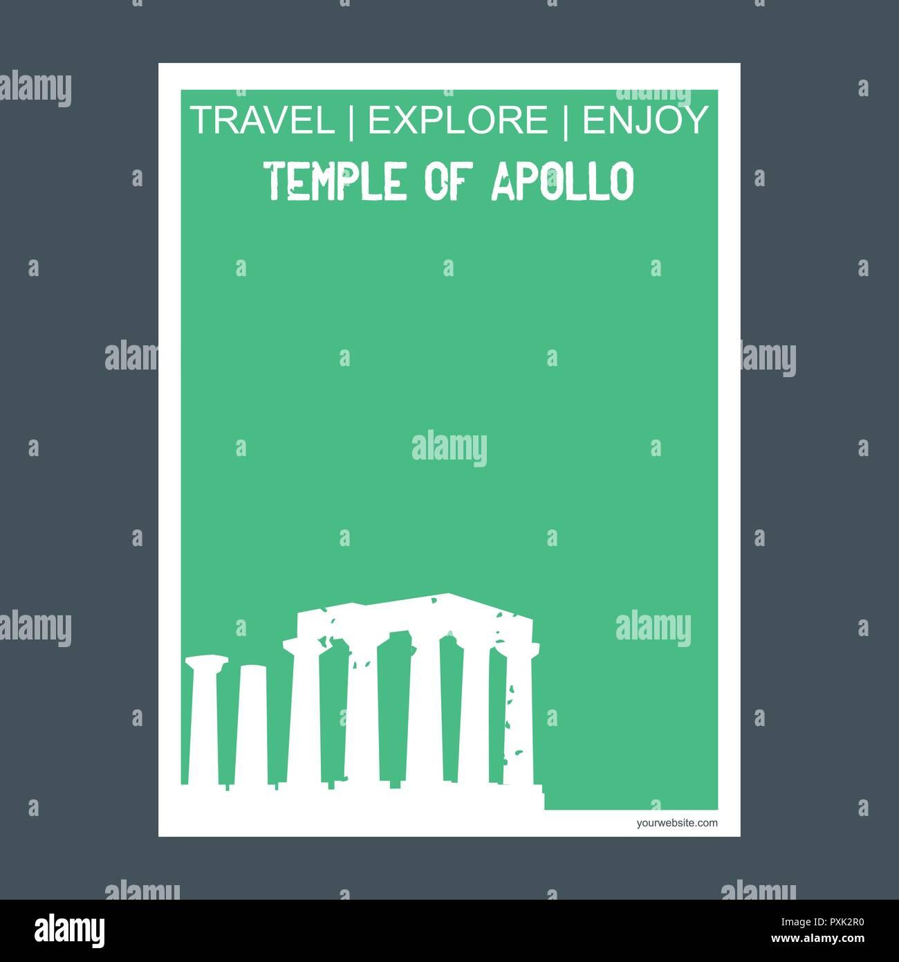 Temple of Apollo Attica, Greece. monument landmark brochure Flat style and typography vector - Stock Vector