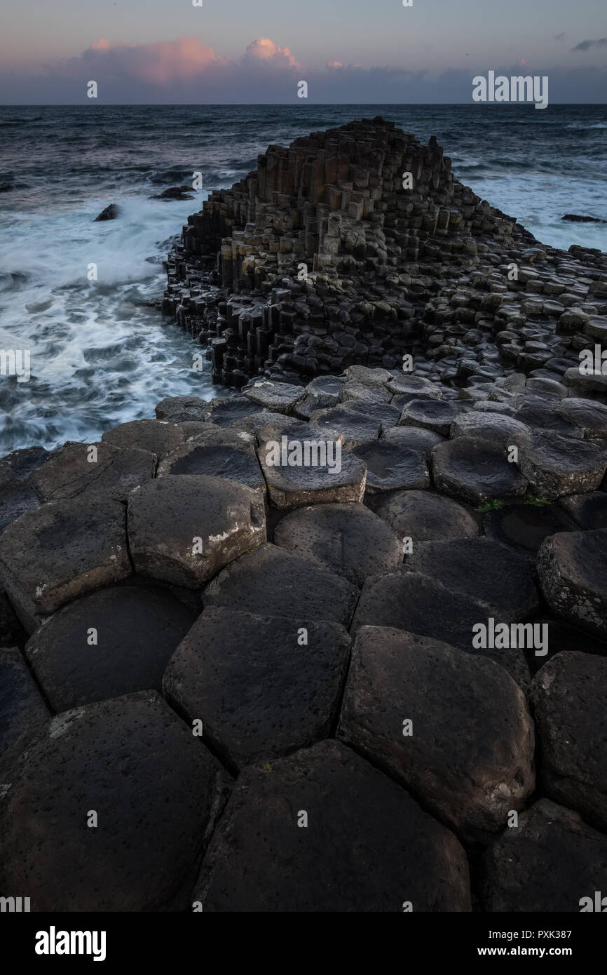 Landscape around Giant's Causeway, A UNESCO world heritage site.It is located in County Antrim on the north coast of Northern Ireland, United Kingdom. Stock Photo