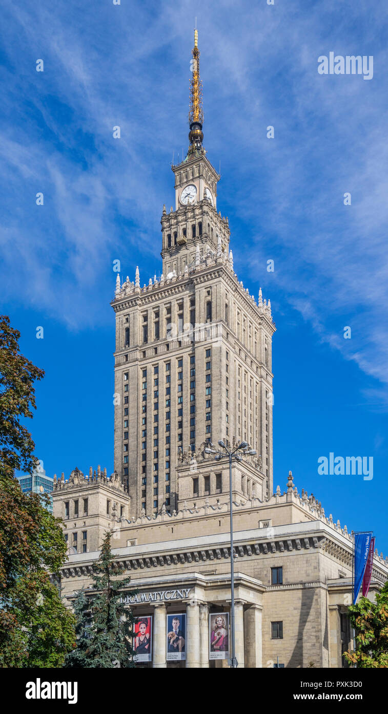 view of the soc-realist Russian Wedding Cake style Palace of Culture and Science, Warsaw, Poland Stock Photo
