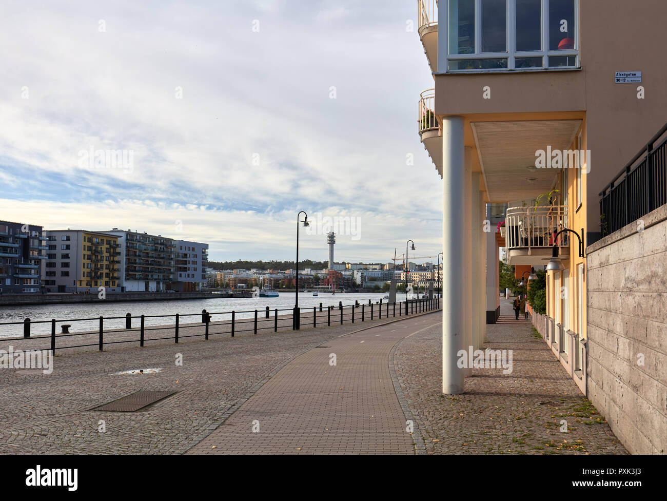 Morning view of a street along Hammarby sea in Södermalm, Stockholm, Sweden - Stock Image