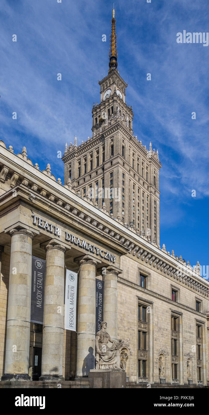 portico of the Drama Theatre at the soc-realist Russian Wedding Cake style Palace of Culture and Science, Warsaw, Poland - Stock Image