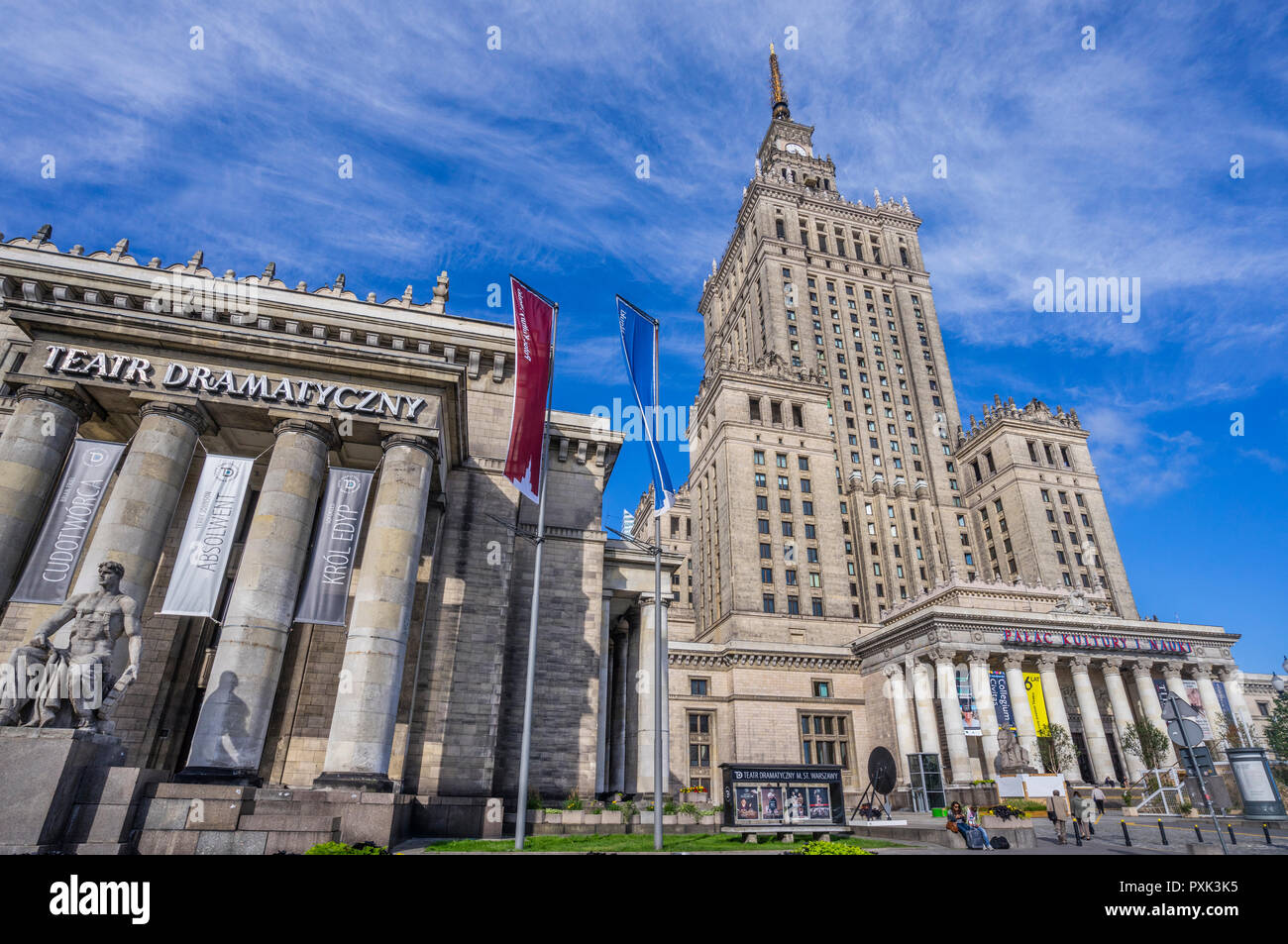portico of the Drama Theatre at the soc-realist Russian Wedding Cake style Palace of Culture and Science, Warsaw, Poland Stock Photo