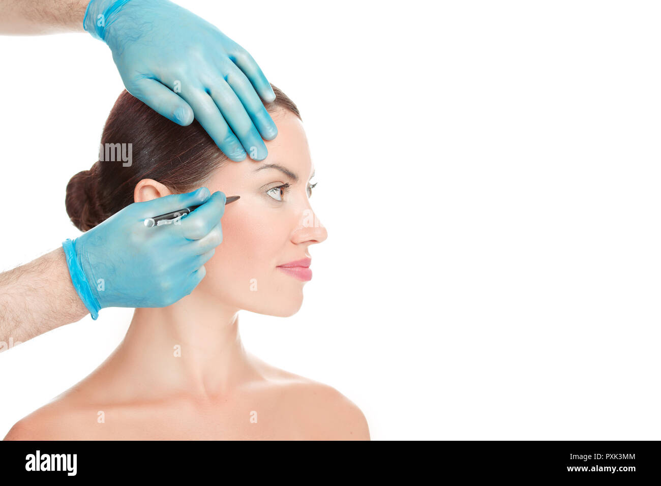Anti wrinkle procedure. Crow-feet wrinkles reduction - Stock Image