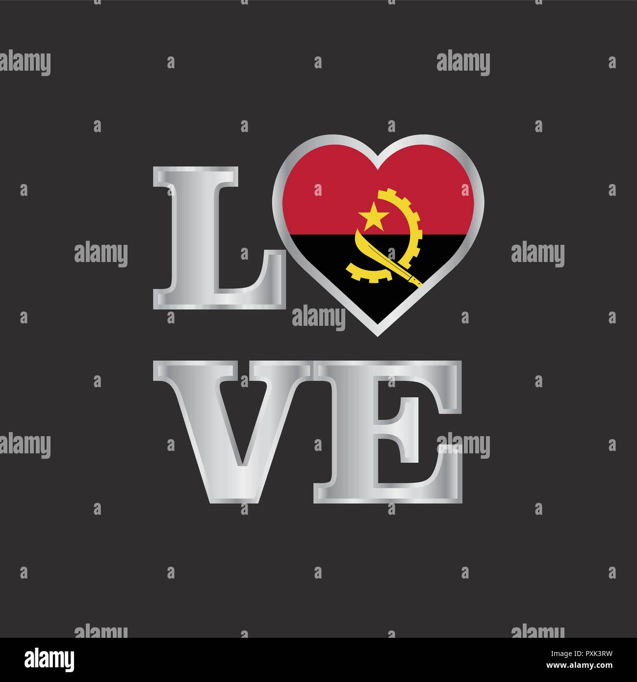 Love typography Angola flag design vector beautiful lettering - Stock Image
