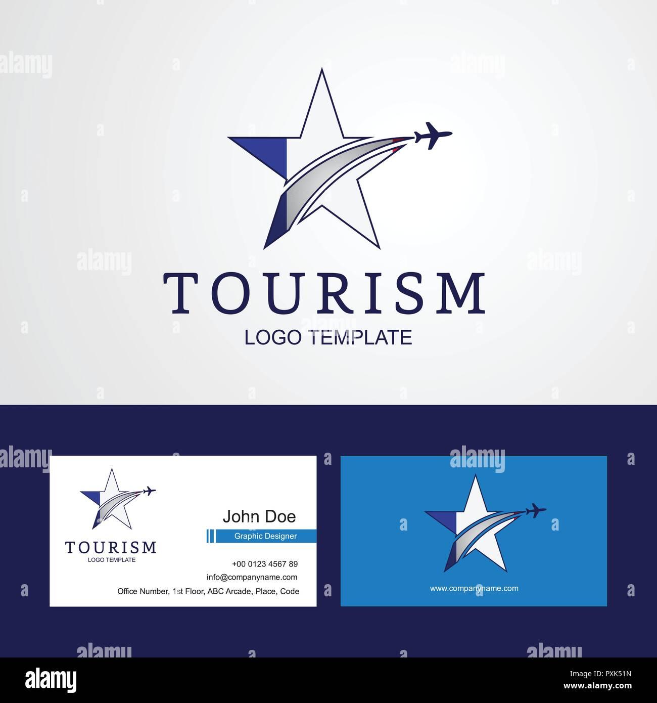 Travel France Flag Creative Star Logo And Business Card Design Stock