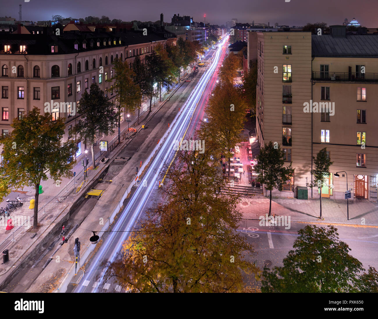 Hazy night Kungsholmen, Stockholm, from a window - Stock Image