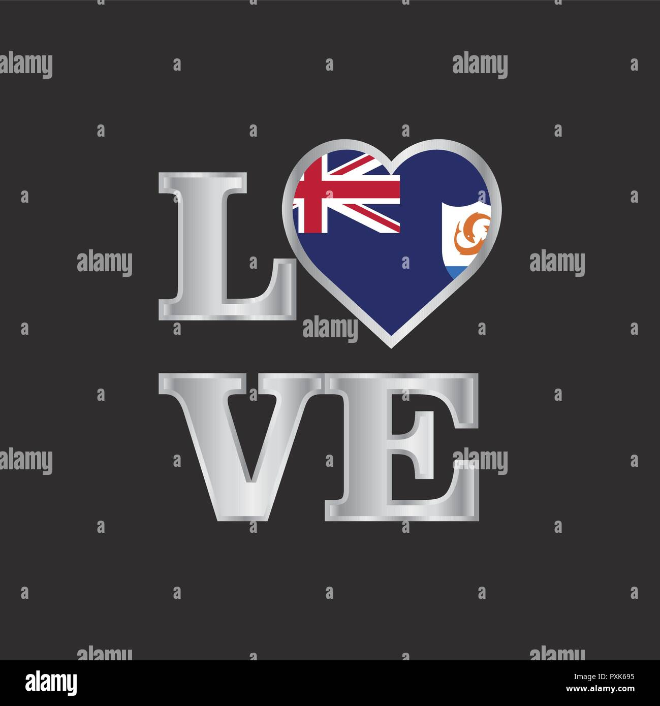 Love typography Anguilla flag design vector beautiful lettering - Stock Vector