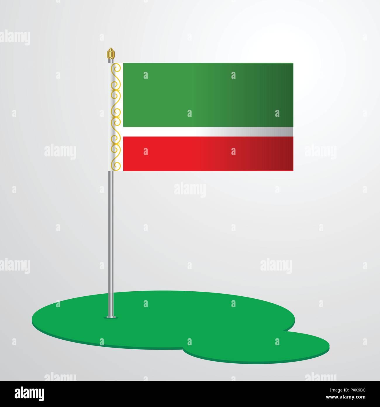 Chechen Republic Flag Pole - Stock Image