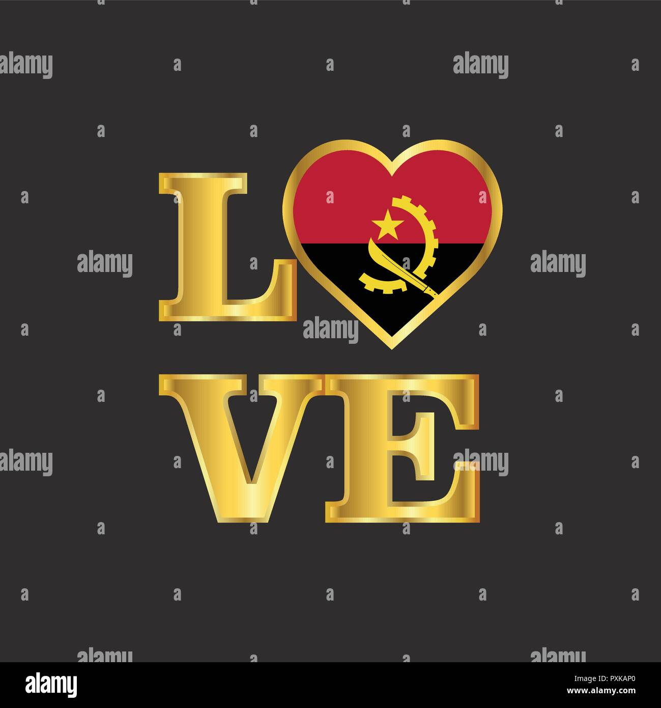 Love typography Angola flag design vector Gold lettering - Stock Image