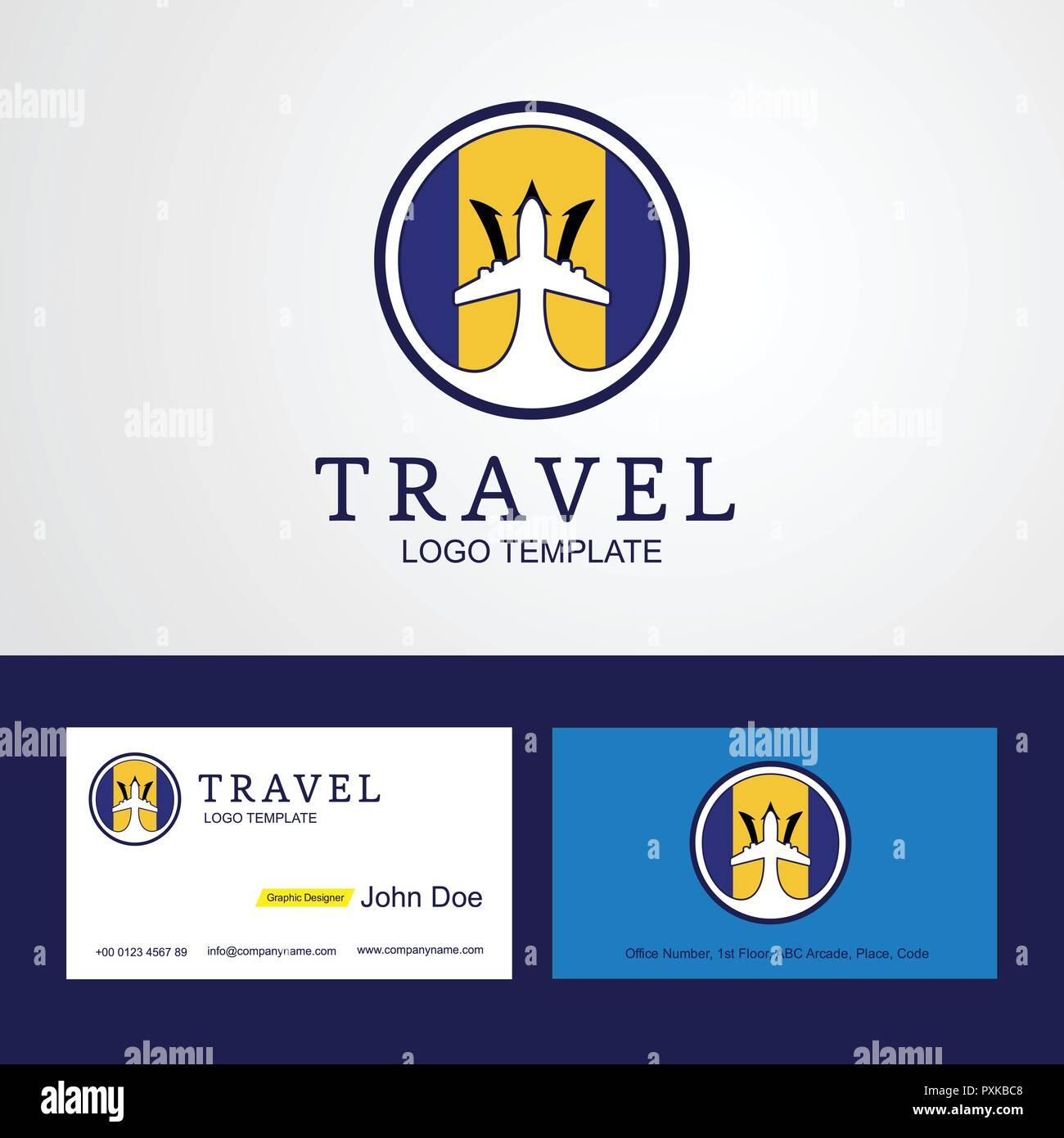 Travel Barbados Creative Circle flag Logo and Business card design - Stock Vector