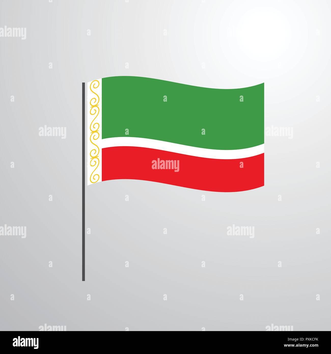 Chechen Republic waving Flag - Stock Image