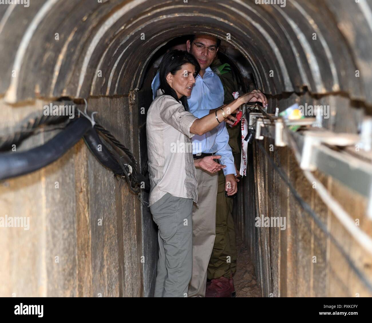US Ambassador to the UN Nikki Haley receives briefing from BG Yehuda Fuchs and tours 'Indian Chai' terror tunnel built by Hamas. - Stock Image