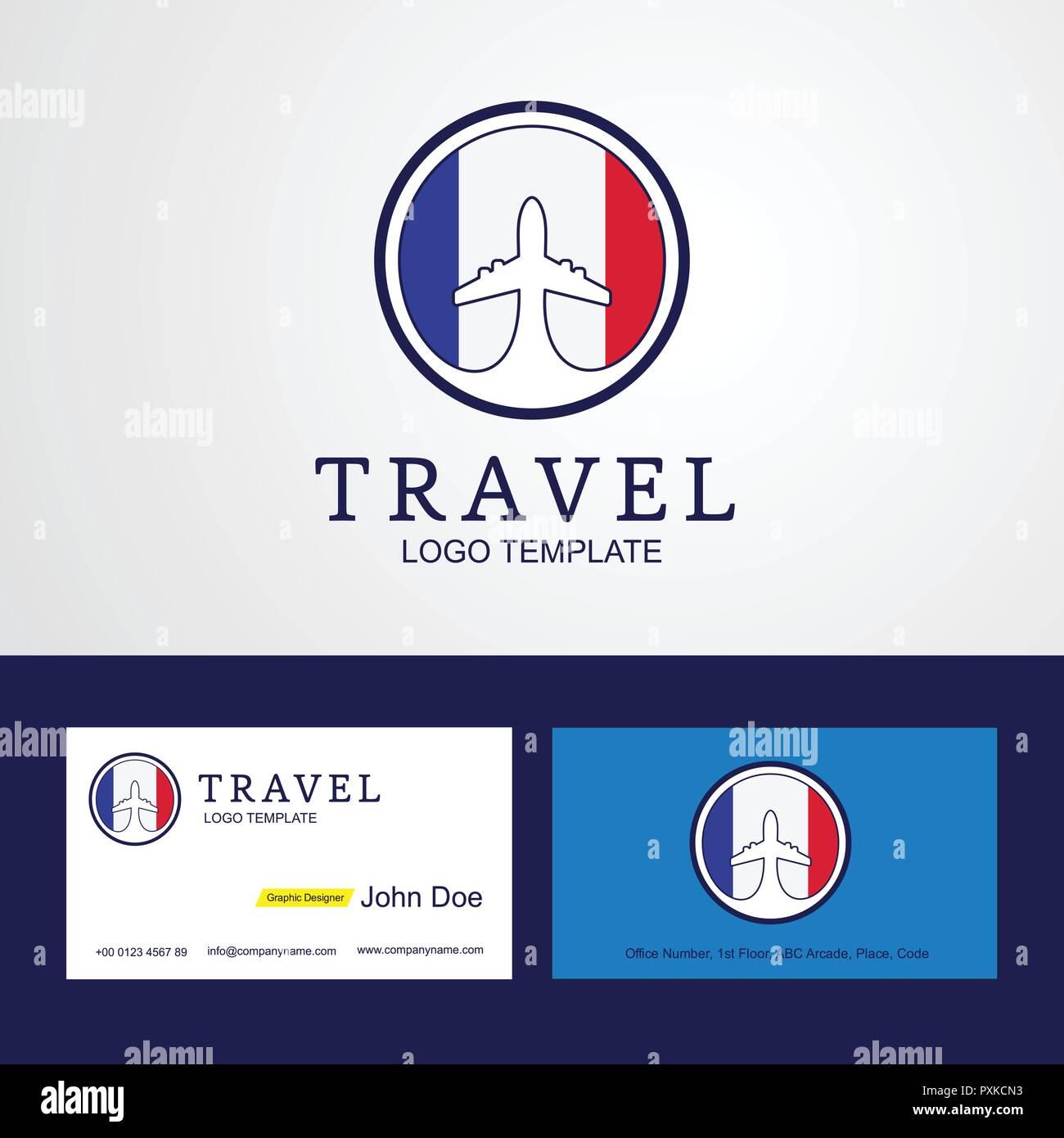 Travel France Creative Circle Flag Logo And Business Card Design