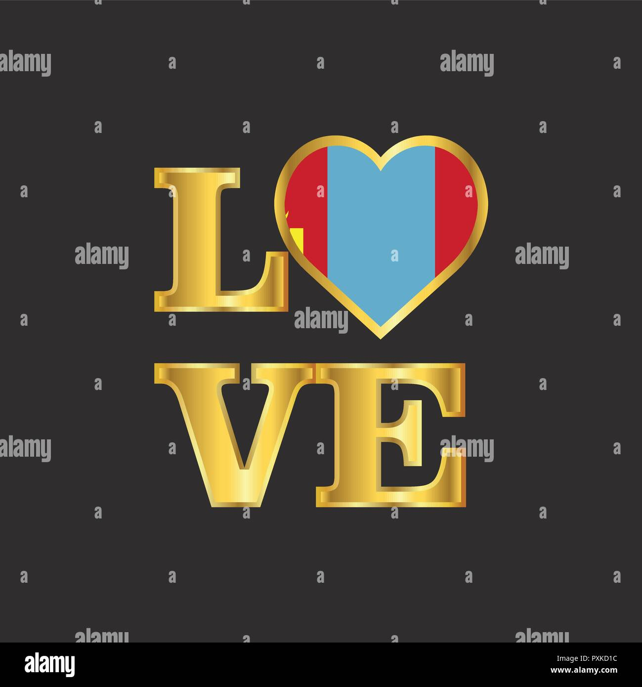 Love typography Mongolia flag design vector Gold lettering - Stock Vector