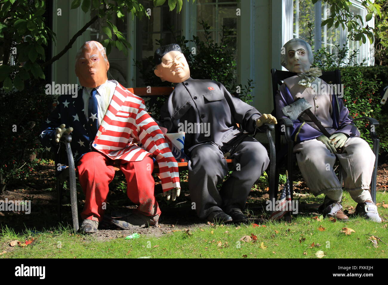Unusual Halloween decorations showing a strong political interest while showcasing legendary politicians Donald Trump, Kim Jong Un, and George Washington. - Stock Image