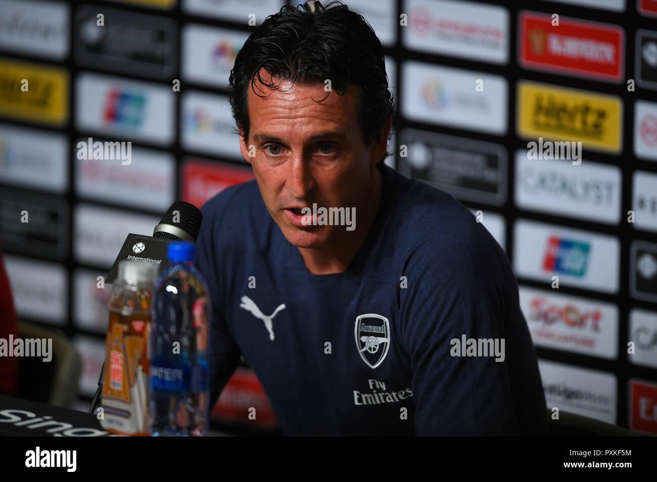 Kallang-Singapore-28Jul2018:Unai emery head coach of arsenal press conference after icc2018 between arsenal against at Paris saint-germain at national - Stock Image