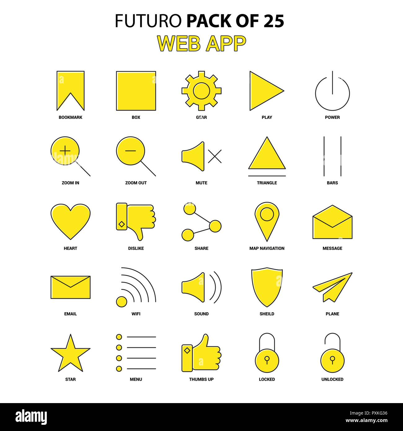 App Di Design web app icon set. yellow futuro latest design icon pack