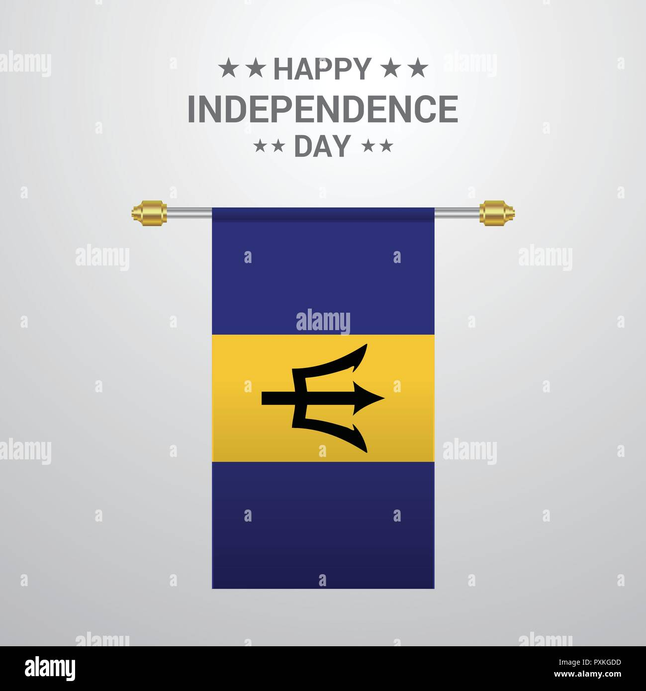 Barbados Independence day hanging flag background - Stock Vector