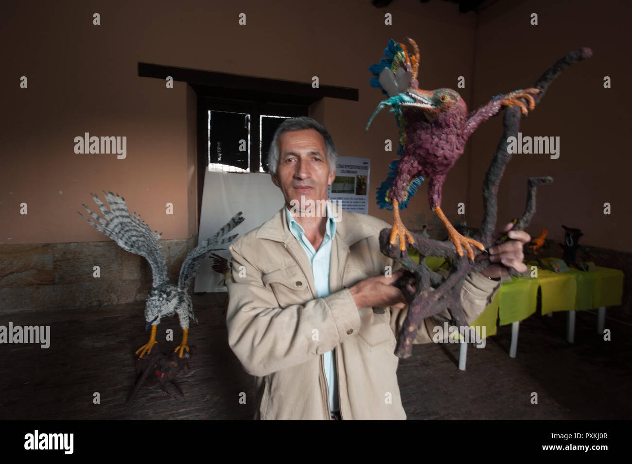Alejandro Salazar is a character sui generis, he has based most of his life on ornithological research and play almost scientifically birds of Colombi - Stock Image