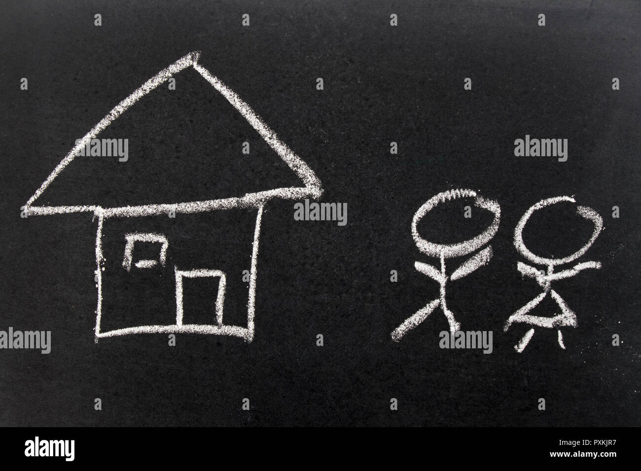 White chalk hand drawing as home and people as male, female (Concept of lovely couple, start new family) - Stock Image