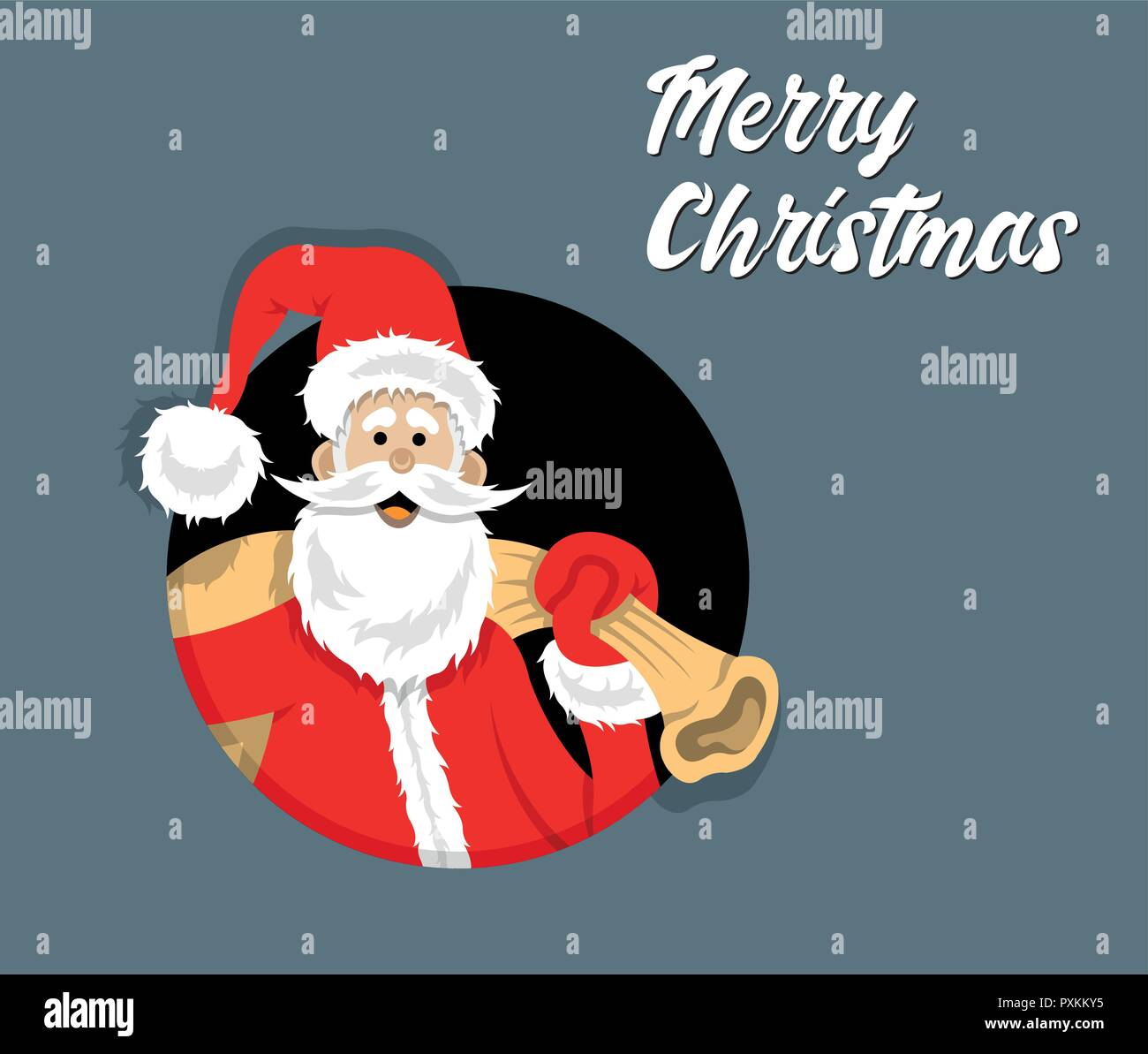 Christmas Celebration Cartoon Images.Santa Claus Cartoon Inside Circle With Christmas Celebration