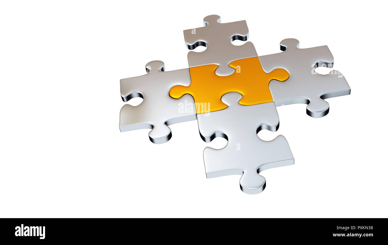 Four Grey Puzzle Pieces encircle One Gold Piece with a white background - Stock Image