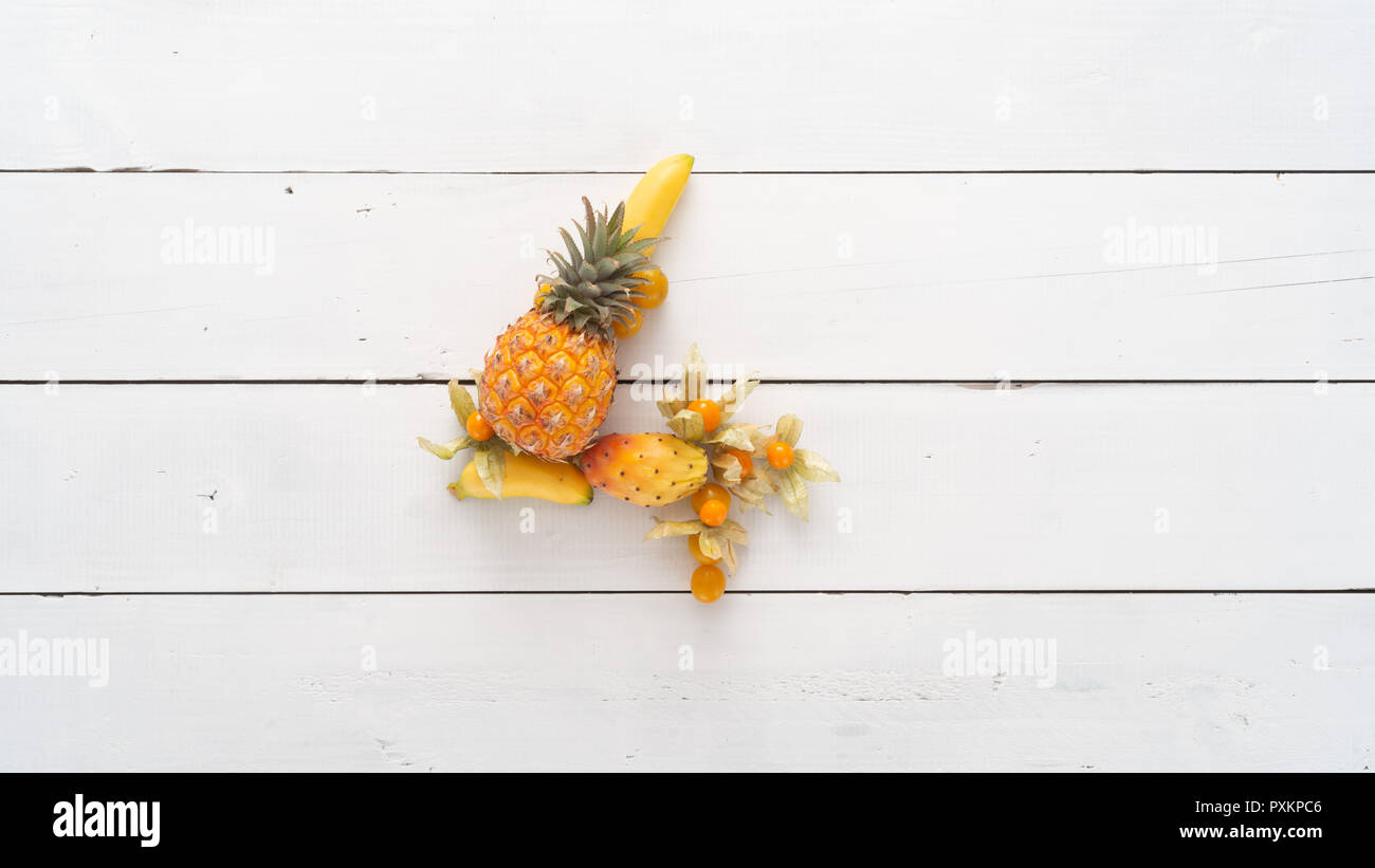 Number 4 made from fresh fruit. Number one to ten separately available to create count down or Top Ten. - Stock Image