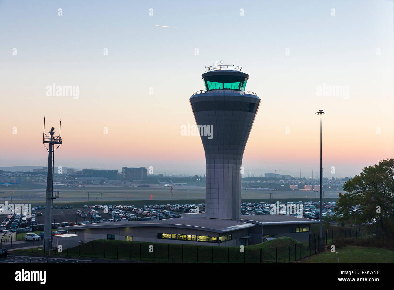 Dawn View of the Air Traffic Control Tower at Birmingham Airport in the Midlands, England, UK. - Stock Image