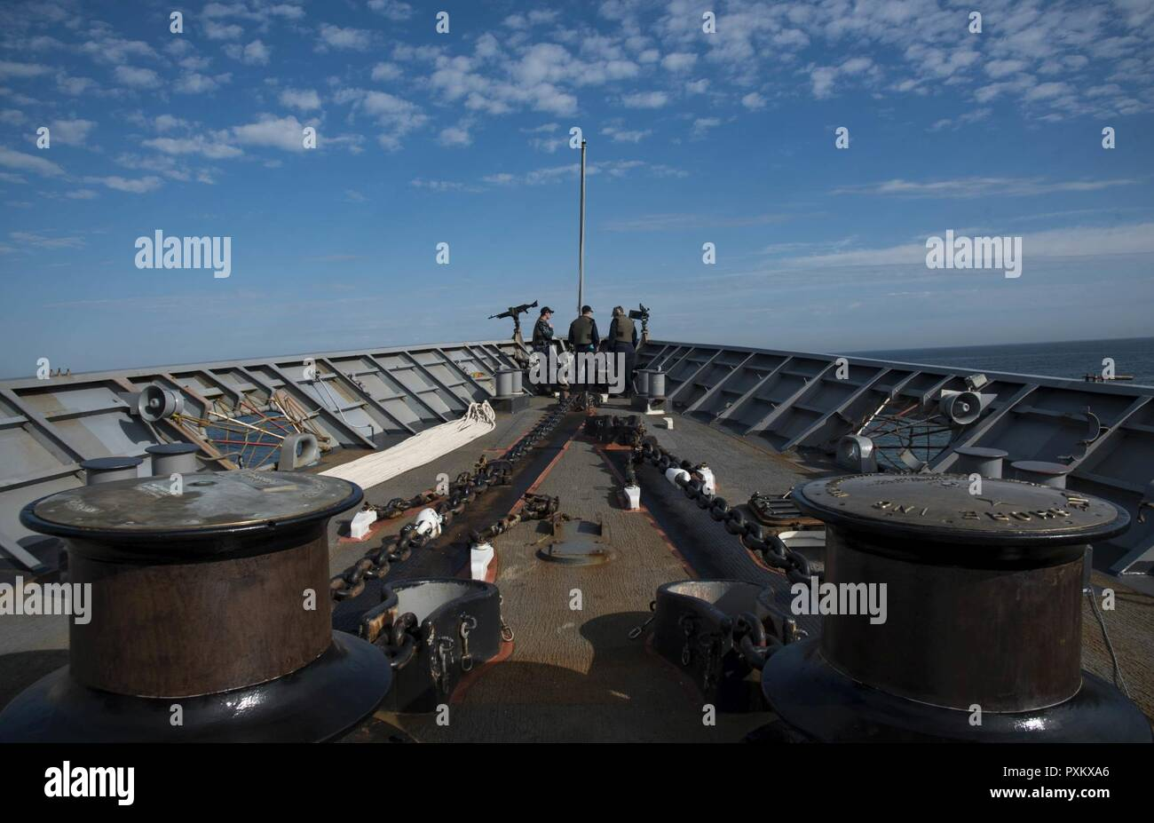Atlantic Ocean June 01 2017 Sailors Stand Watch On The Forecastle Of The Guided Missile Cruiser Uss Monterey Cg 61 Monterey Is Currently Underway