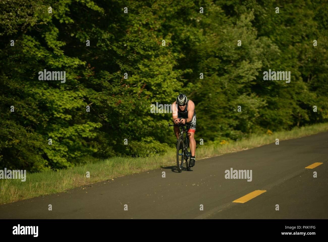 Rides Down Perimeter Rd During A Triathlon June 3 2017 On Columbus Air Force Base Mississippi Goncalves Finished The 22 Kilometer Bike