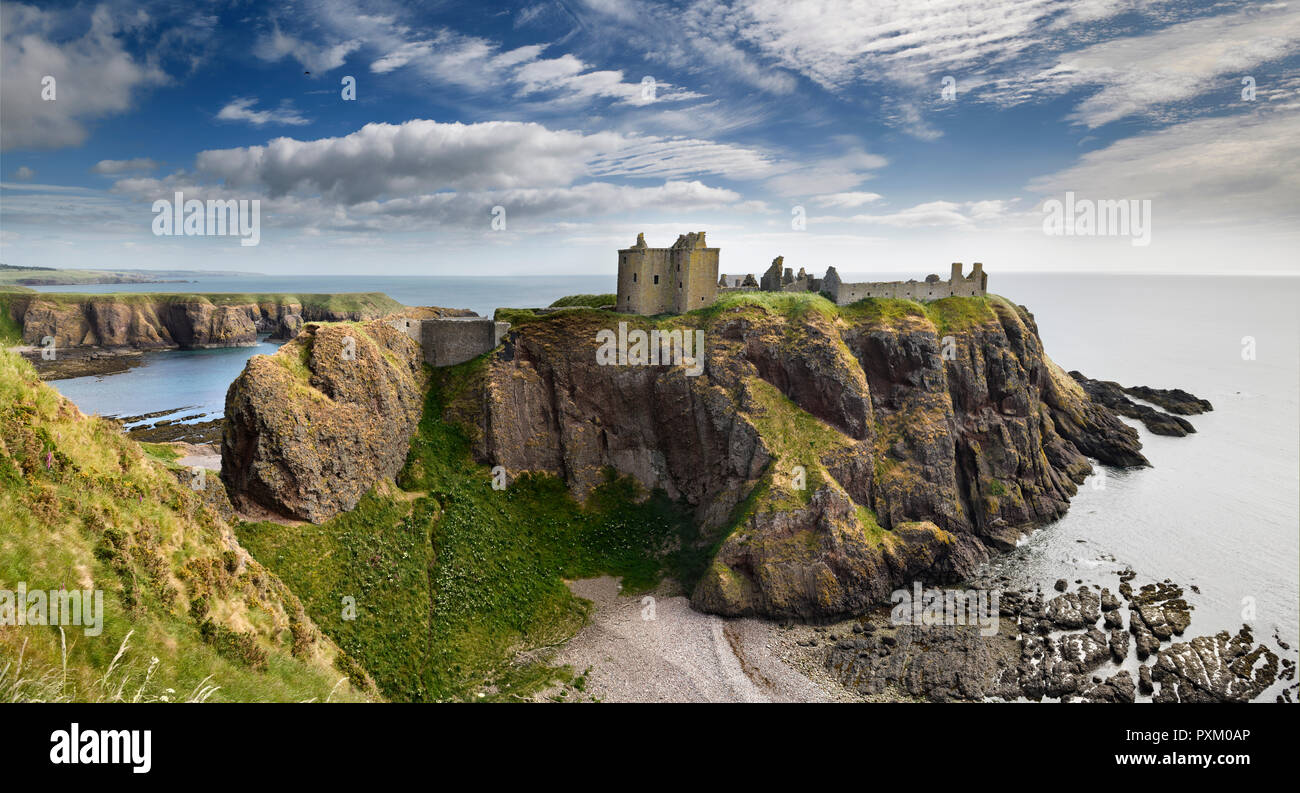 Panorama of Dunnottar Castle Medieval clifftop ruins from cliff above rocks of Old Hall Bay North Sea near Stonehaven Scotland UK - Stock Image
