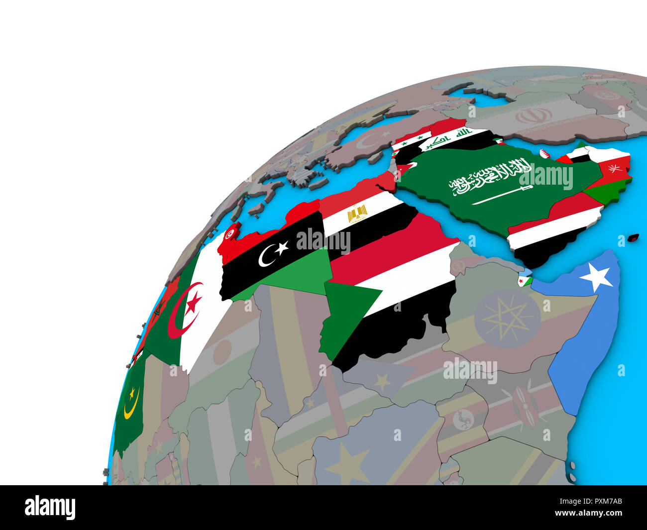 Picture of: Arab League With National Flags On 3d Globe 3d Illustration Stock Photo Alamy