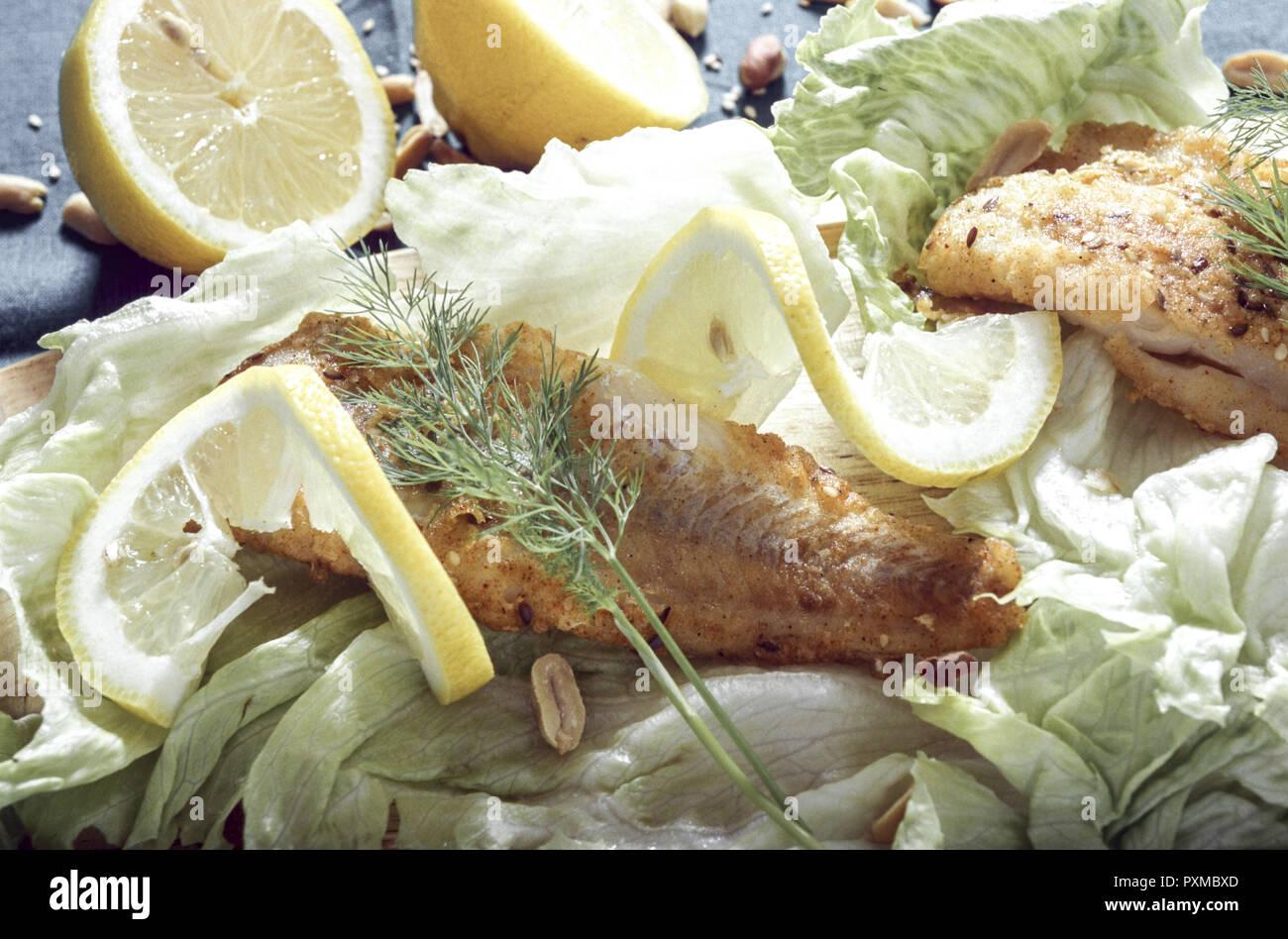 Fisch Fischgericht Essen Fischfilet Gebraten Goldbarsch Lebensmittel Nahrungsmittel Mahlzeit Feinkost Delikatesse Spezialitaet Salat Beilage Filet Kal - Stock Image